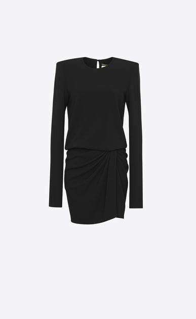 SAINT LAURENT Dresses D Long-sleeved mini dress and gathered skirt in black sablé v4