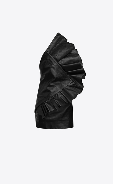 SAINT LAURENT Dresses D Asymmetrical strapless mini dress with ruffles in shiny black leather a_V4