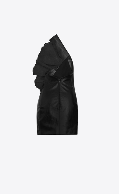SAINT LAURENT Robes D Mini robe bustier asymétrique à volants en cuir brillant noir b_V4