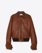 SAINT LAURENT Leather jacket D Jacket with oversized gathered sleeves in cognac vintage leather f