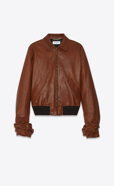SAINT LAURENT Leather jacket Woman Jacket with oversized gathered sleeves in cognac vintage leather a_V4