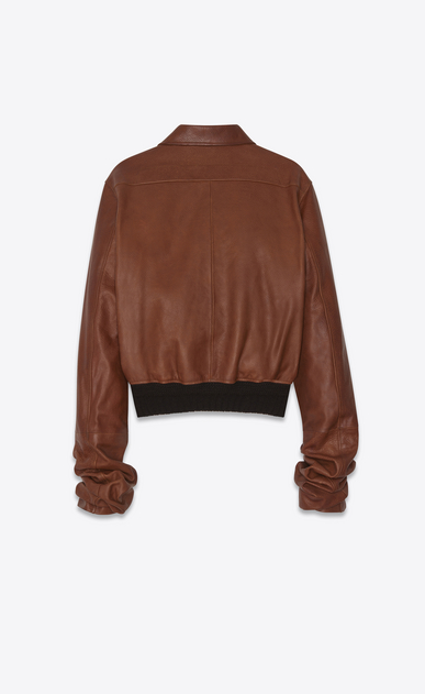 SAINT LAURENT Leather jacket Woman Jacket with oversized gathered sleeves in cognac vintage leather b_V4