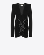 SAINT LAURENT Dresses D Zipped mini dress with square shoulders and ruffles in black velvet f