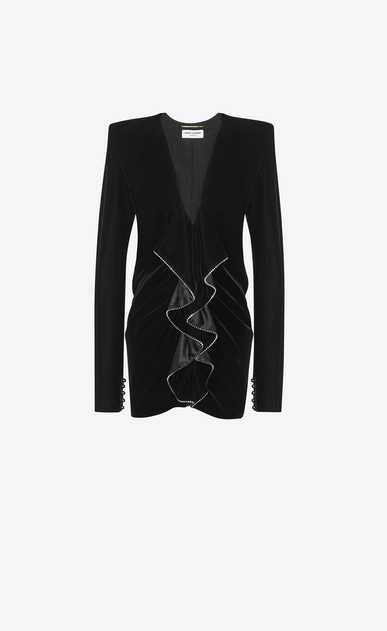 SAINT LAURENT Dresses Woman Zipped mini dress with square shoulders and ruffles in black velvet a_V4