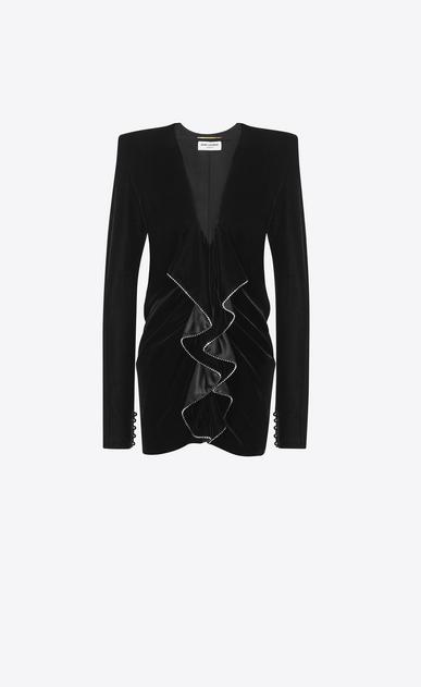 SAINT LAURENT Kleider D Minikleid aus schwarzem Samt mit quadratischer Schulterpartie und Rüschen sowie Reißverschluss v4