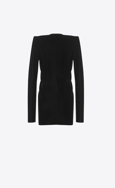 SAINT LAURENT Dresses D Zipped mini dress with square shoulders and ruffles in black velvet b_V4