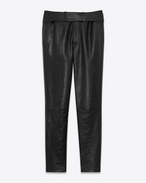 SAINT LAURENT Baggy D Pants with tuxedo waist in shiny black grained leather f
