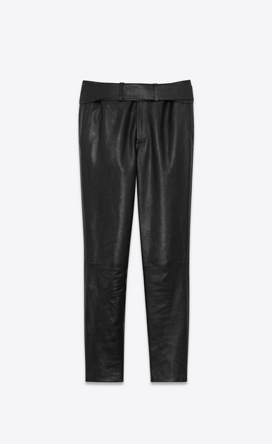 SAINT LAURENT Leather pants D Pants with tuxedo waist in shiny black grained leather a_V4