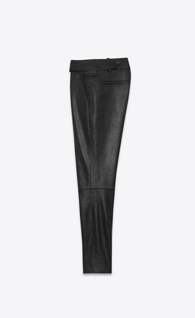 SAINT LAURENT Leather pants D Pants with tuxedo waist in shiny black grained leather b_V4