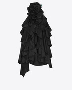 SAINT LAURENT Dresses D Backless mini dress with flowers and ruffles in black satin f