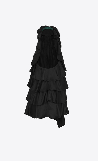 SAINT LAURENT Dresses Woman Backless mini dress with flowers and ruffles in black satin b_V4