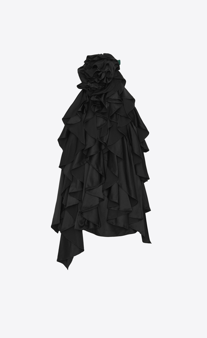 Saint Laurent Backless Mini Dress With Flowers And Ruffles In