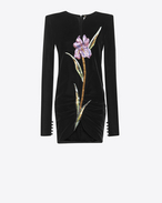SAINT LAURENT Robes D Mini-robe à épaules carrées et broderies multicolores en velours noir f