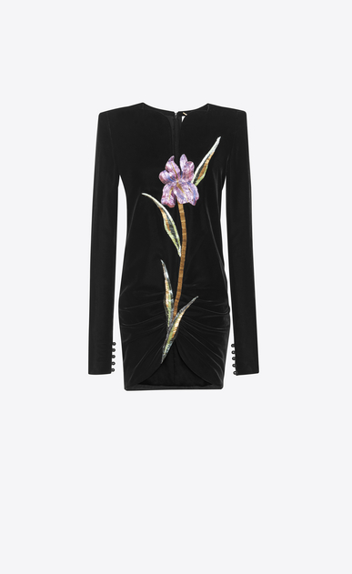 SAINT LAURENT Robes Femme Mini-robe à épaules carrées et broderies multicolores en velours noir a_V4
