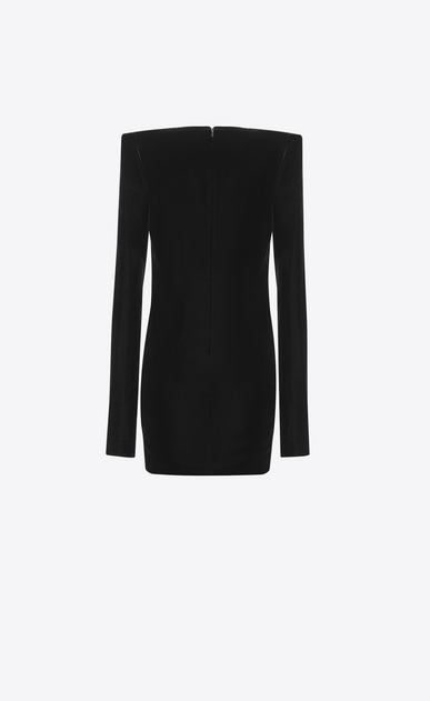 SAINT LAURENT Robes Femme Mini-robe à épaules carrées et broderies multicolores en velours noir b_V4