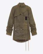 SAINT LAURENT Coats D Military parka with oversized sleeves in waxed khaki cotton canvas f