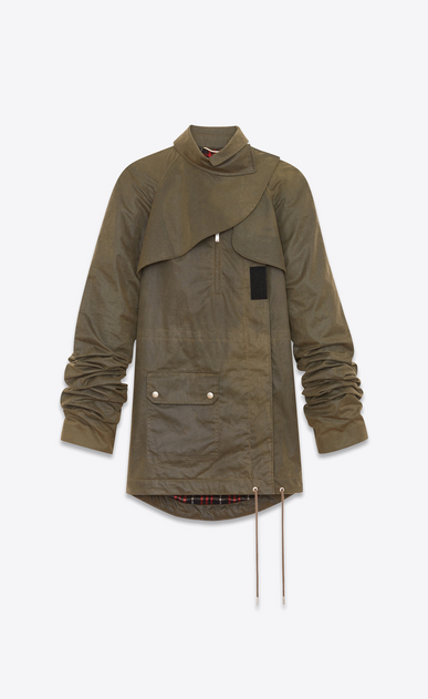 SAINT LAURENT Cappotti D Parka military con maniche oversized color kaki in tela di cotone cerata a_V4