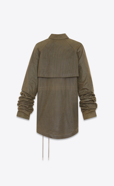 SAINT LAURENT Coats D Military parka with oversized sleeves in waxed khaki cotton canvas b_V4
