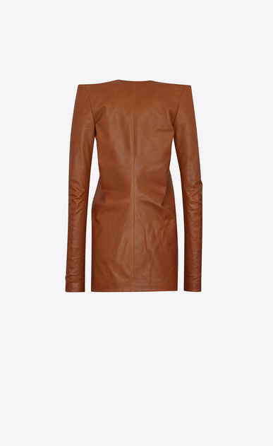 SAINT LAURENT Dresses D Mini dress with square shoulders and ruffles in vintage cognac leather b_V4