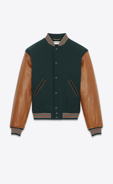 SAINT LAURENT Giacche Casual Donna Varsity jacket in lana verde con maniche in pelle color cognac  a_V4