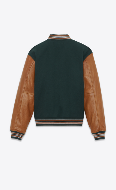 SAINT LAURENT Giacche Casual Donna Varsity jacket in lana verde con maniche in pelle color cognac  b_V4