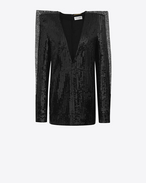 SAINT LAURENT Dresses D Plunging mini dress with black sequins f