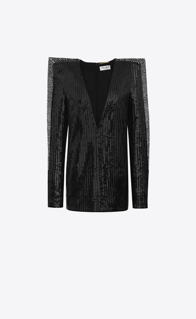 SAINT LAURENT Dresses D Plunging mini dress with black sequins a_V4