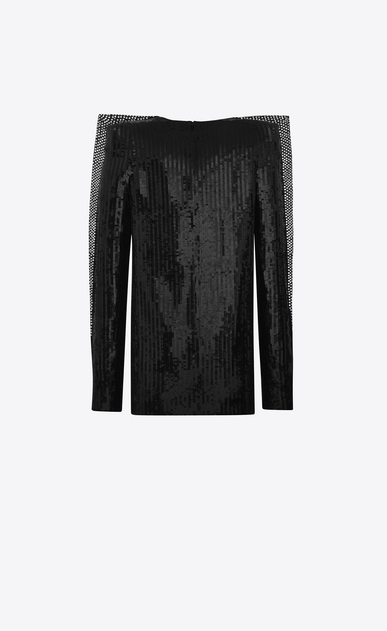 SAINT LAURENT Dresses D Plunging mini dress with black sequins b_V4