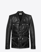SAINT LAURENT Leather jacket D Safari jacket with square-cut shoulders in shiny black leather f