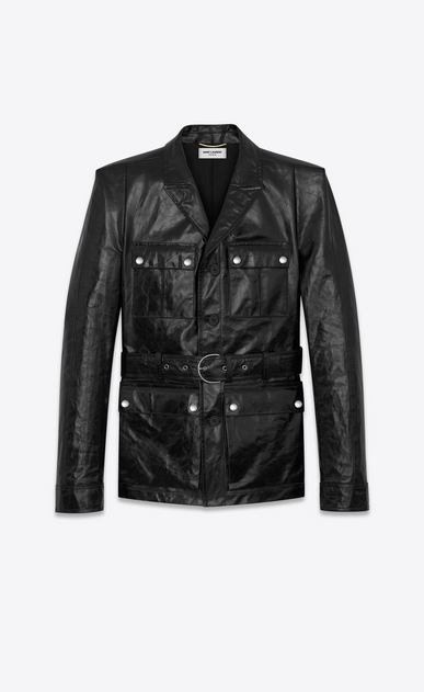 SAINT LAURENT Leather jacket D Safari jacket with square-cut shoulders in shiny black leather a_V4