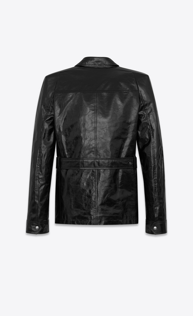 SAINT LAURENT Leather jacket D Safari jacket with square-cut shoulders in shiny black leather b_V4