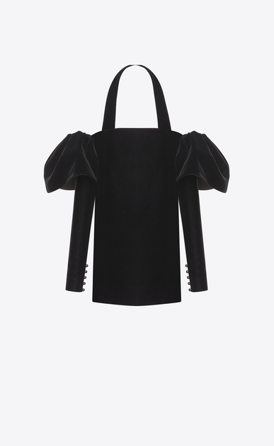SAINT LAURENT Robes Femme Mini robe bustier à volants en velours noir a_V4
