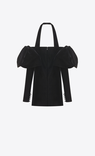 SAINT LAURENT Robes Femme Mini robe bustier à volants en velours noir b_V4