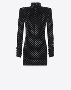 SAINT LAURENT Dresses D Mini dress with a turtleneck and square shoulders in black velvet f