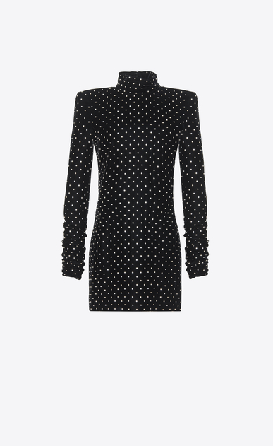 SAINT LAURENT Dresses D Mini dress with a turtleneck and square shoulders in black velvet a_V4