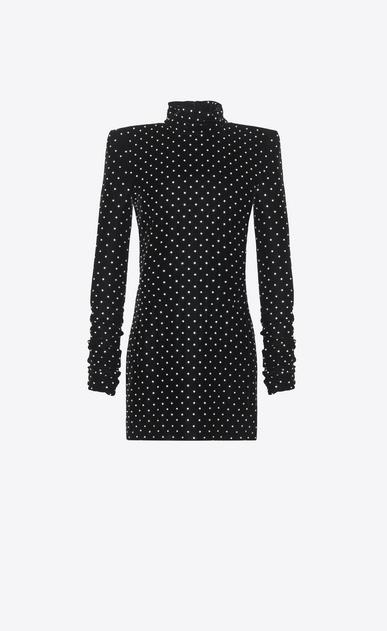 SAINT LAURENT Dresses D Mini dress with a turtleneck and square shoulders in black velvet v4