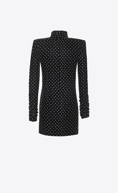 SAINT LAURENT Dresses Woman Mini dress with a turtleneck and square shoulders in black velvet b_V4