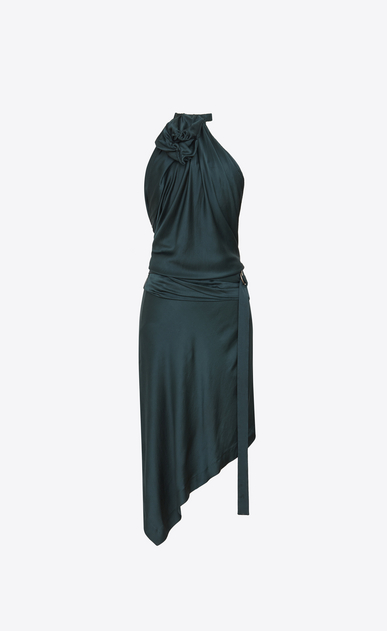 SAINT LAURENT Dresses Woman Asymmetrical backless mini dress with an emerald green flower in satin a_V4