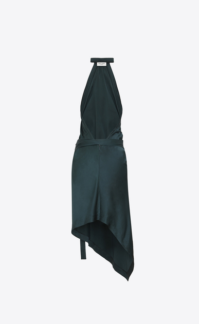 SAINT LAURENT Dresses Woman Asymmetrical backless mini dress with an emerald green flower in satin b_V4