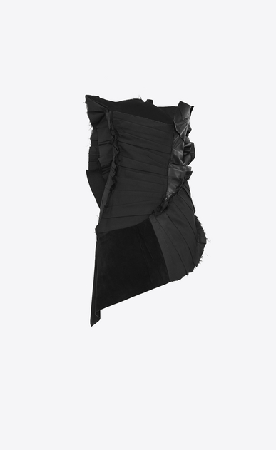 SAINT LAURENT Dresses D Strapless pleated mini dress with gathers in black gabardine and white crystals. b_V4
