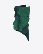 SAINT LAURENT Kleider D Strapless pleated mini dress with gathers in emerald green gabardine f