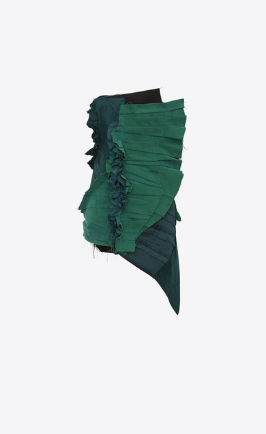 SAINT LAURENT Dresses Woman Strapless pleated mini dress with gathers in emerald green gabardine a_V4