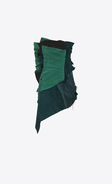 SAINT LAURENT Dresses Woman Strapless pleated mini dress with gathers in emerald green gabardine b_V4