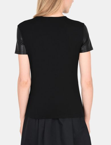 FAUX LEATHER ZIP-SHOULDER TEE
