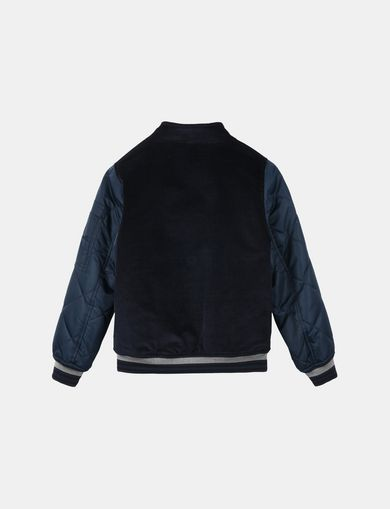 BOYS NYLON VELOUR LOGO BOMBER JACKET