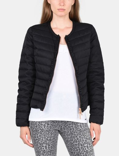 COLLARLESS LEOPARD-LINED PUFFER JACKET
