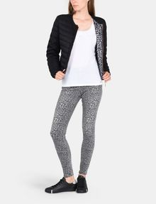 ARMANI EXCHANGE COLLARLESS LEOPARD-LINED PUFFER JACKET PUFFER JACKET Woman a