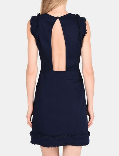 RAW DETAIL RUFFLE OPEN-BACK DRESS