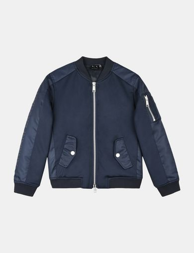 BOYS NEOPRENE AND KNIT BOMBER JACKET