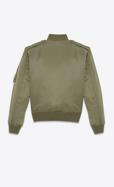 SAINT LAURENT Casual Jackets U classic bomber jacket in khaki nylon b_V4